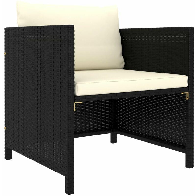 Canapé de jardin avec coussins Noir Résine tressée6891-A