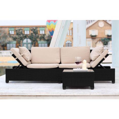 Canapé de Jardin Corfou + table basse - Résine tressée