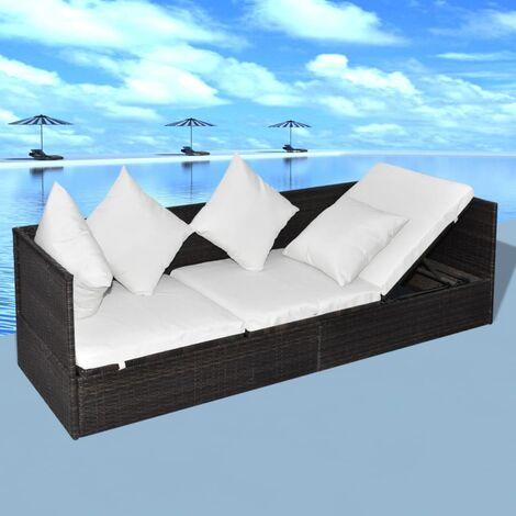 Canapé de jardin et coussin et oreillers Résine tressée
