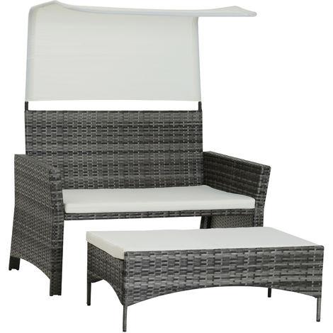 Canapé de jardin grand confort pare-soleil intégré repose ...