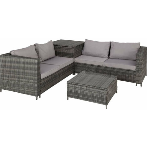 Canapé de jardin meuble 4 places avec coffre de rangement gris - Gris