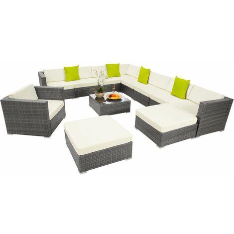 Canapé de jardin meuble modulable 10 places gris