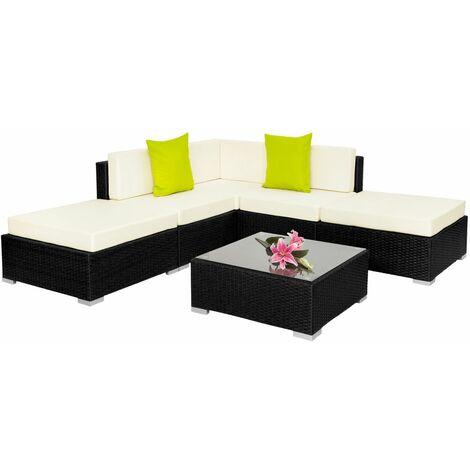 Canapé de jardin meuble modulable 5 places noir