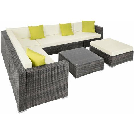 Canapé de jardin meuble modulable 7 places gris