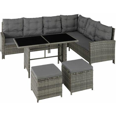 Canapé de jardin meuble modulable beige/gris