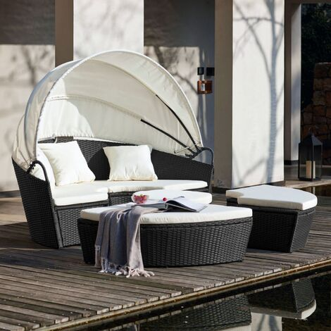 Circa : salon de jardin modulable 6/8 pers en résine tressée poly ...