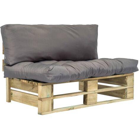 Canapé de jardin palette avec coussins Gris Pinède