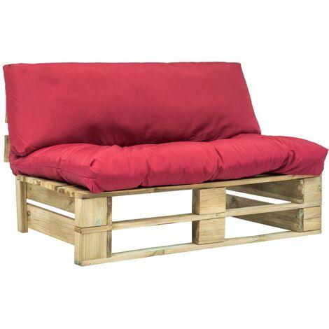 Canapé de jardin palette avec coussins rouge Pinède2965-A