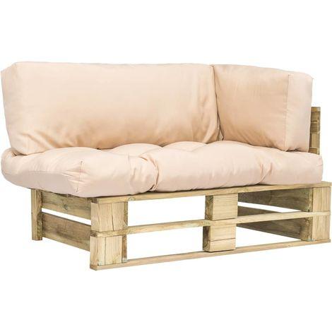 Canape de jardin palette avec coussins Sable Pinede