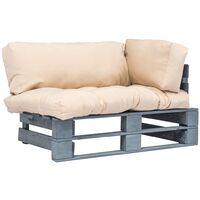 Canapé de jardin palette avec coussins sable Pinède FSC