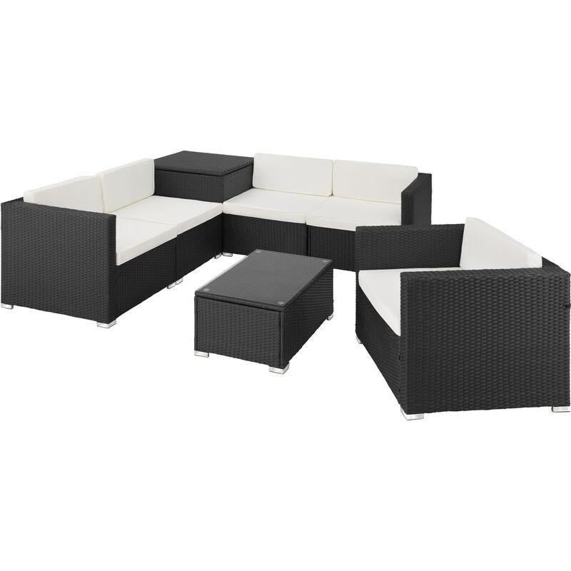 Canapé de jardin PISE 5 places avec coffre de rangement, variante 2 - table de jardin, mobilier de jardin, fauteuil de jardin - noir