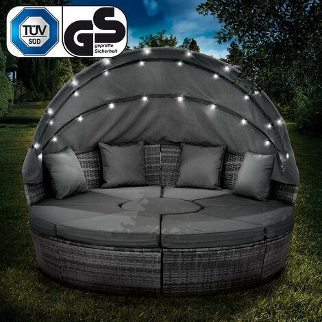 Canapé de jardin rond en gris 210cm 8 Pers. LED+housse en rotin tressé, auvent pliable modulable table réglable en hauteur – Salon de jardin rond gris/gris foncé de BRAST