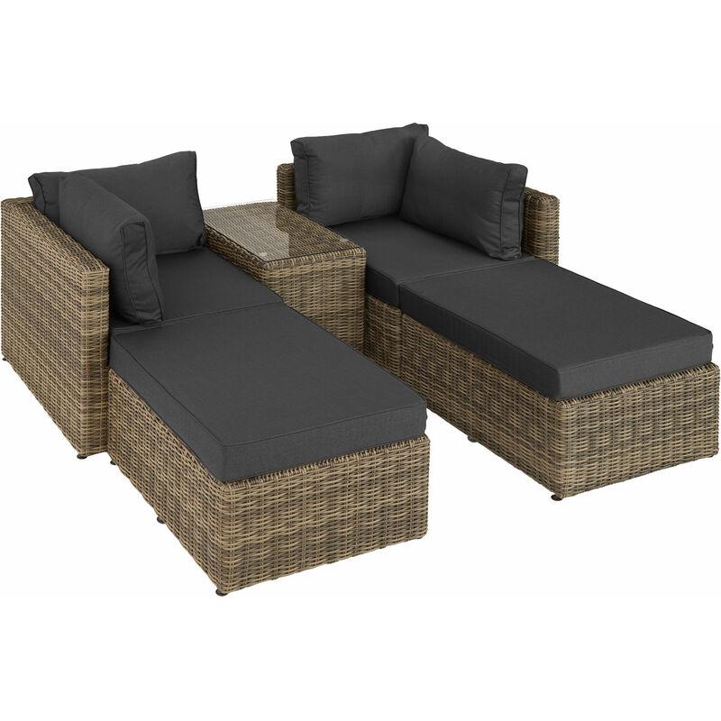 Tectake - Canapé de jardin SAN DOMINO 4 Places modulable en Bain de soleil en Résine tressée et Aluminium Marron naturel