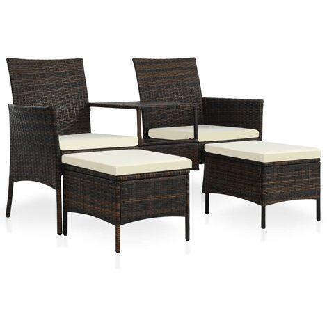 Canapé de jardin table à thé et tabourets Résine tressée Marron