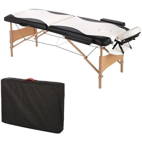 Canapé de massage mobile 2 zones avec sac, canapé cosmétique, pliable blanc/noir, nouveau