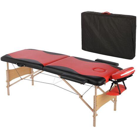 Canapé de massage mobile 2 zones avec sac pliable, rouge/noir, NOUVEAU