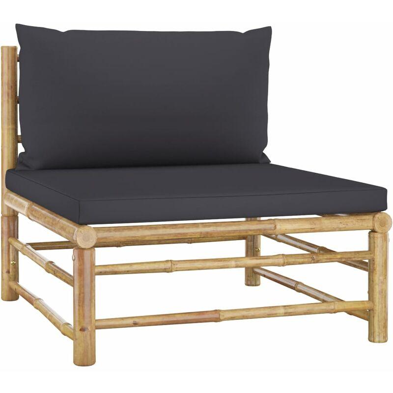 Canapé de milieu de jardin avec coussins gris foncé Bambou6838-A
