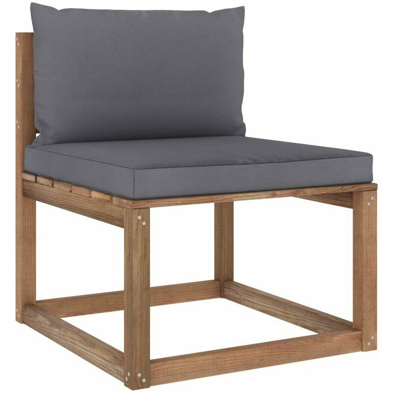 Canape de milieu palette de jardin avec coussins anthracite