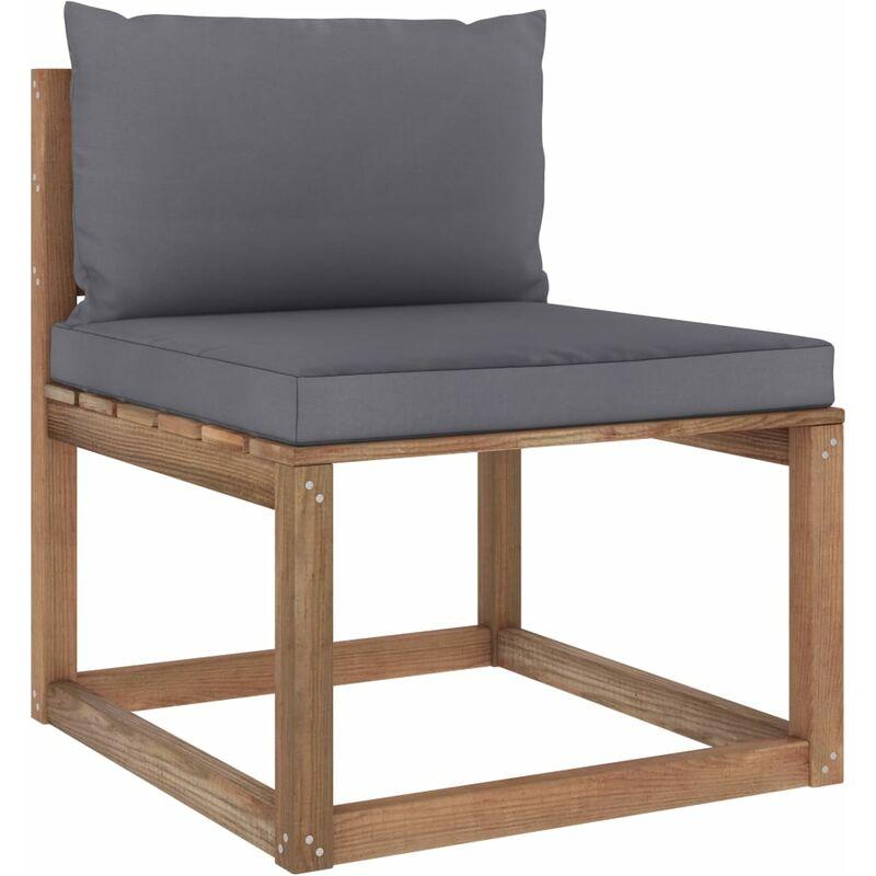 Canapé de milieu palette de jardin avec coussins anthracite5344-A