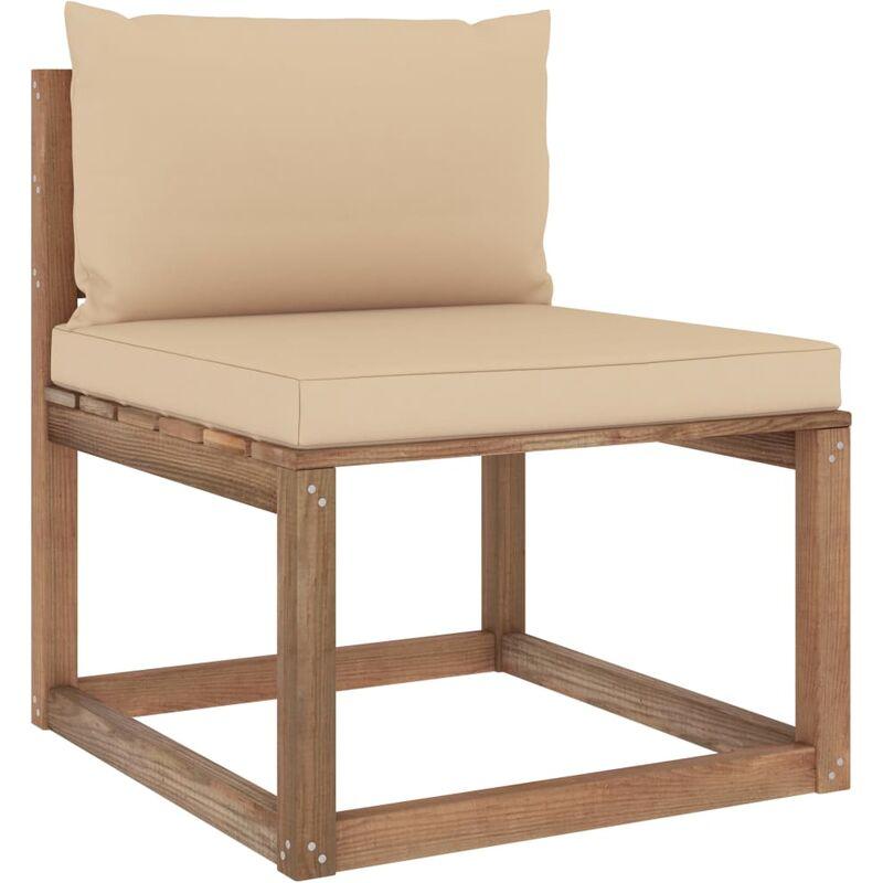 Canapé de milieu palette de jardin avec coussins beige