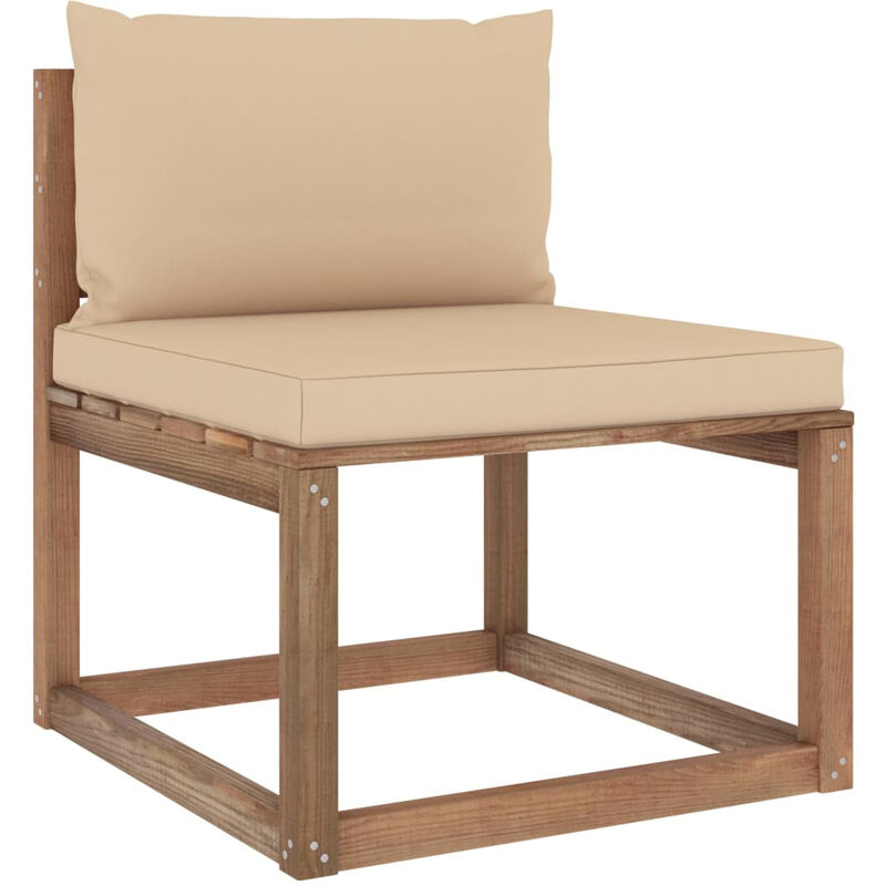 Canape de milieu palette de jardin avec coussins beige