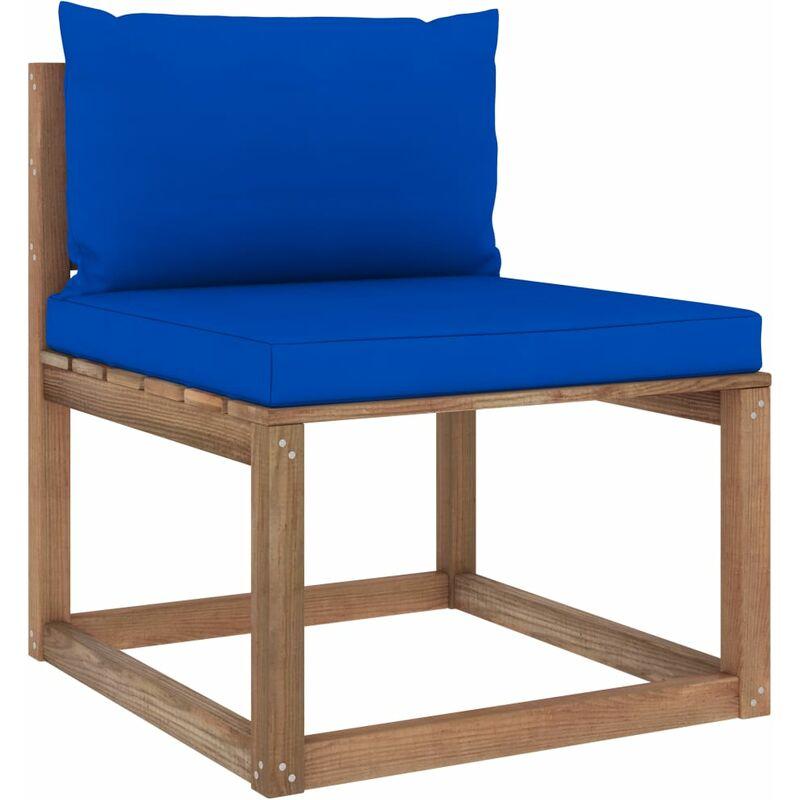 Canapé de milieu palette de jardin avec coussins bleu
