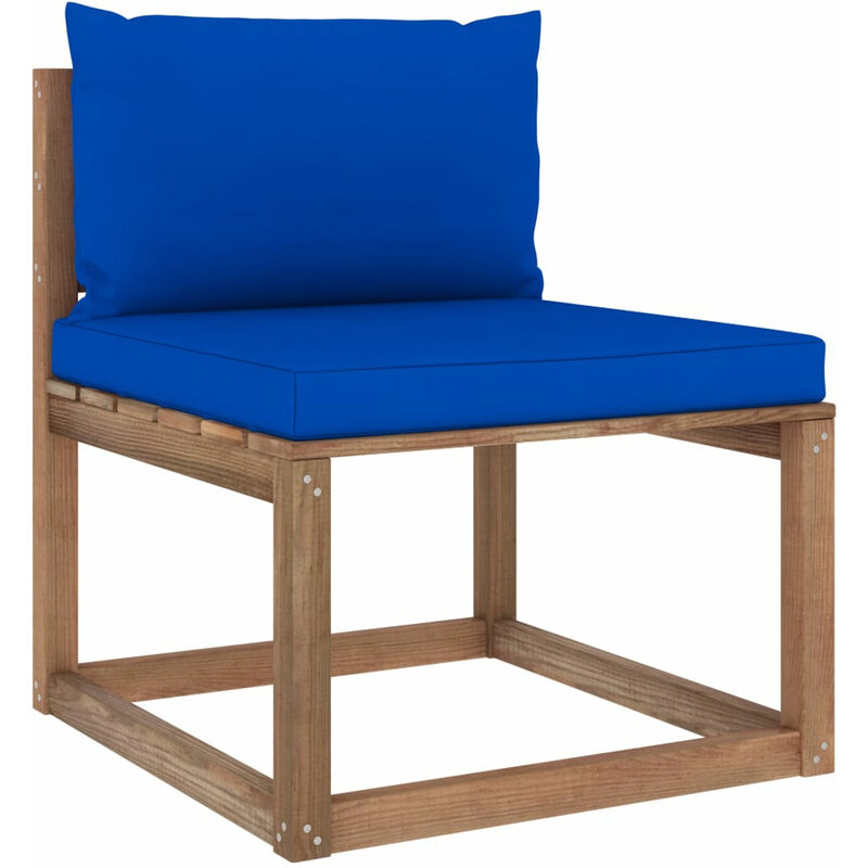 Canape de milieu palette de jardin avec coussins bleu