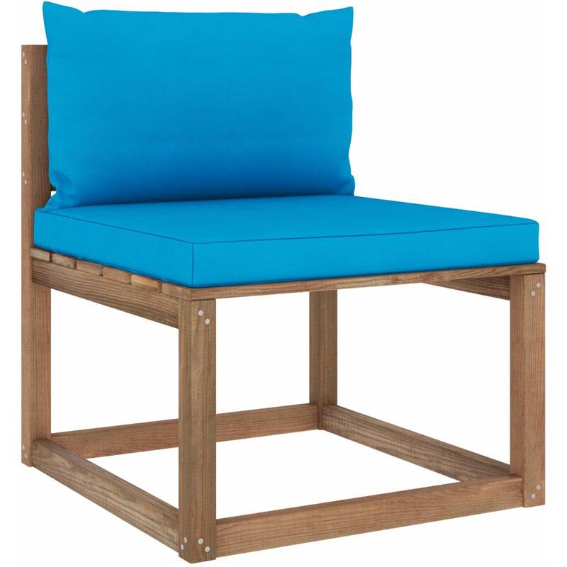 Canape de milieu palette de jardin avec coussins bleu clair