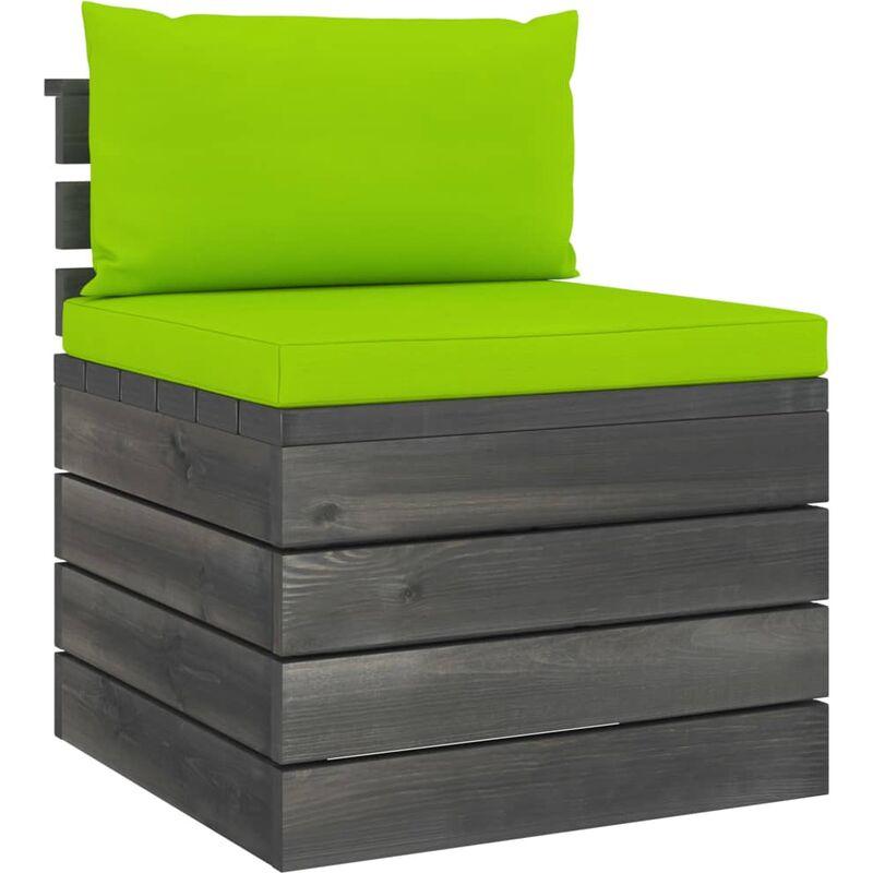Youthup - Canapé de milieu palette de jardin avec coussins Bois de pin