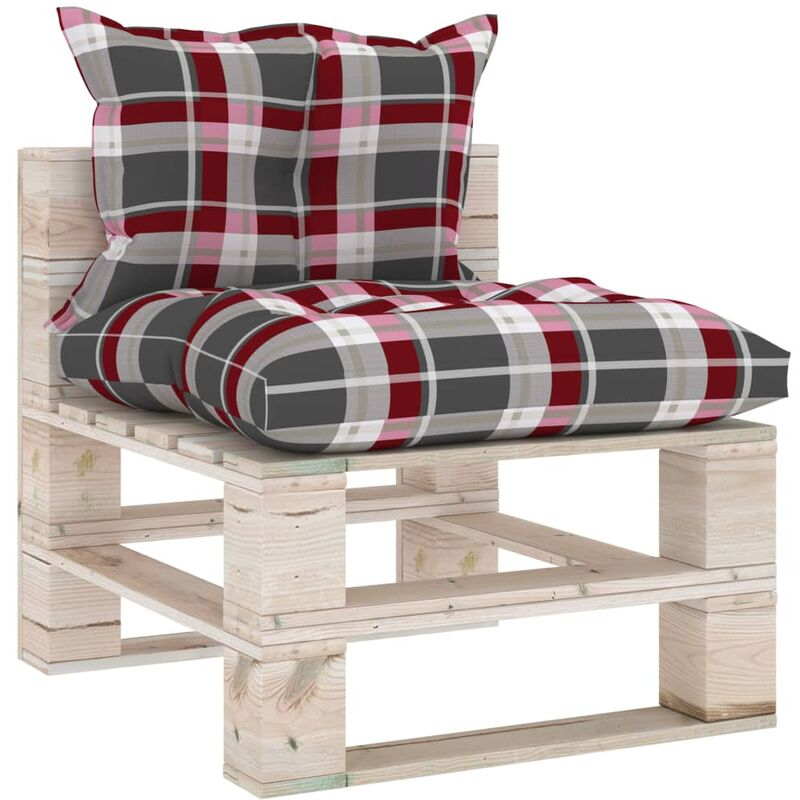 Canapé de milieu palette de jardin avec coussins Bois de pin5287-A