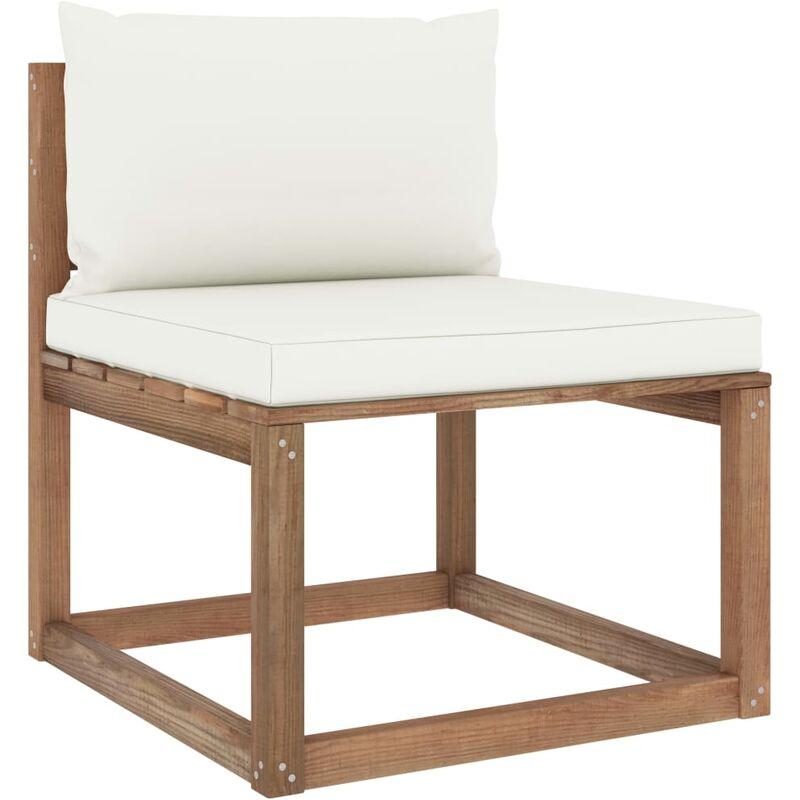 Canapé de milieu palette de jardin avec coussins crème5346-A