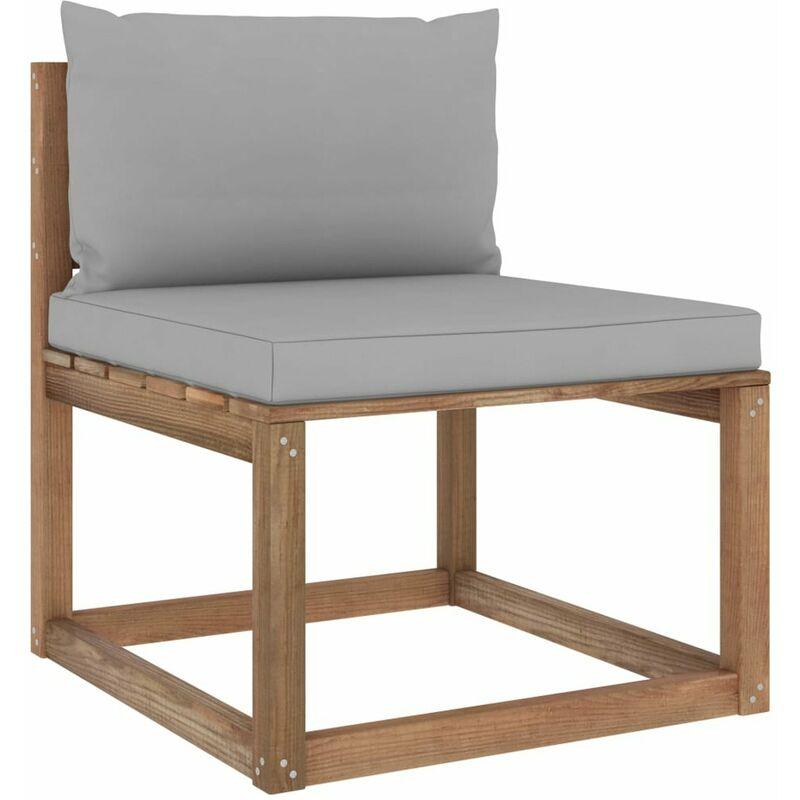 Canape de milieu palette de jardin avec coussins gris