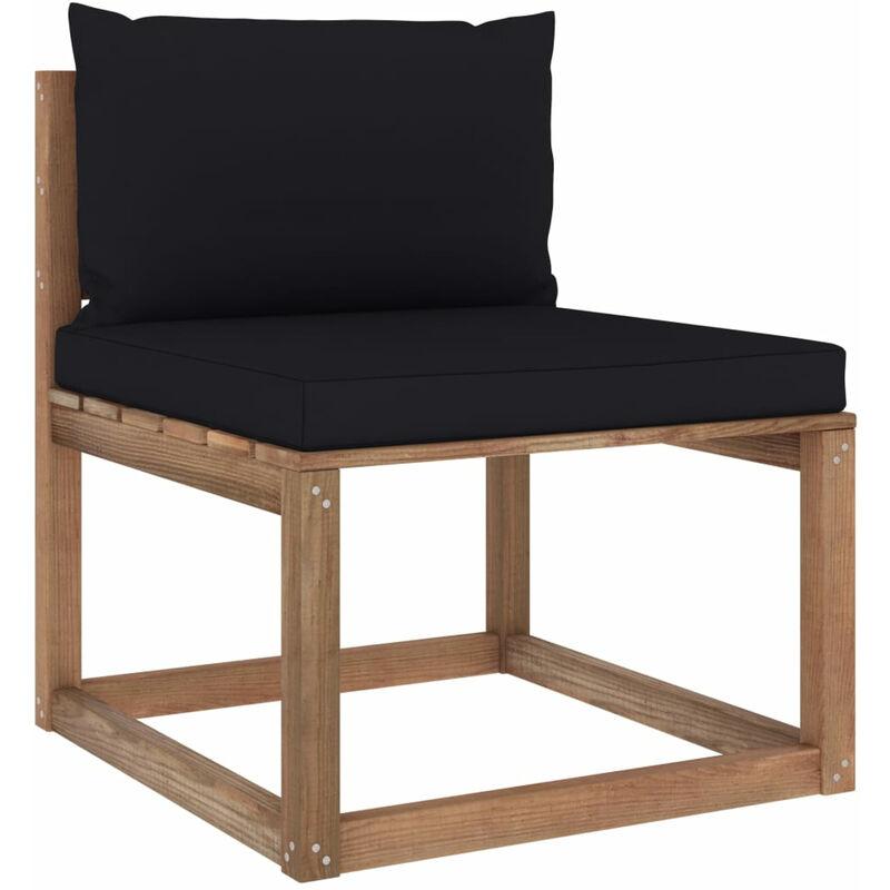 Canape de milieu palette de jardin avec coussins noir