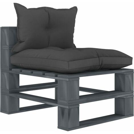Canapé de milieu palette de jardin avec coussins noir Bois