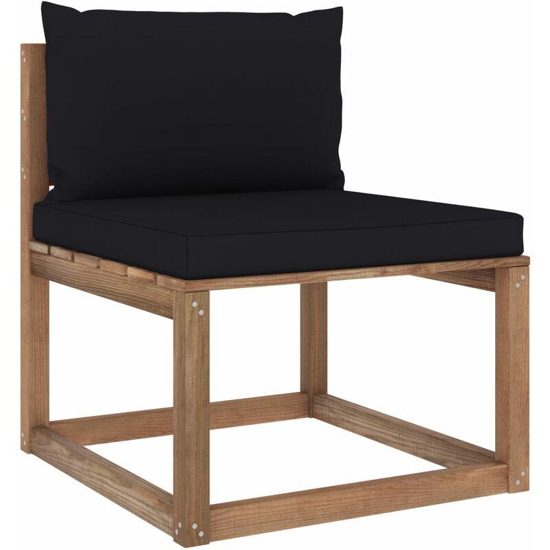 Canapé de milieu palette de jardin avec coussins noir5351-A