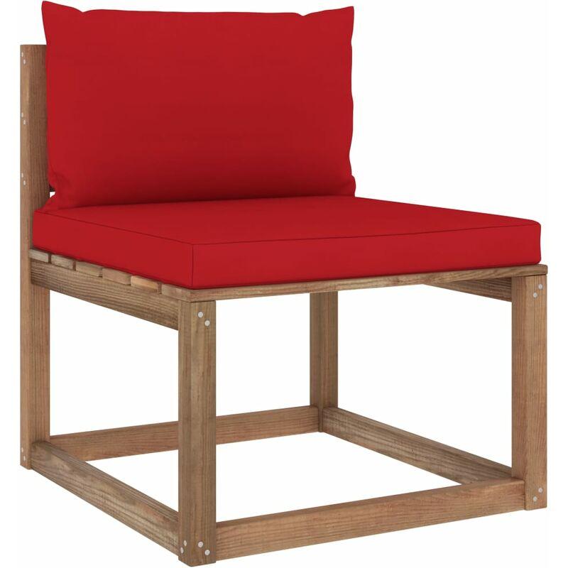 Canapé de milieu palette de jardin avec coussins rouge