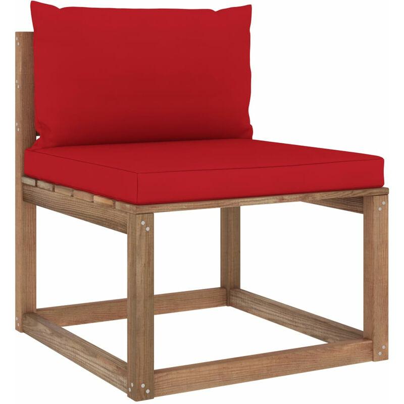 Canape de milieu palette de jardin avec coussins rouge