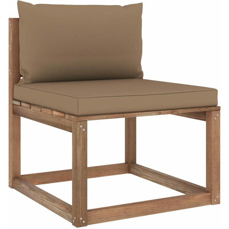 Canape de milieu palette de jardin avec coussins taupe