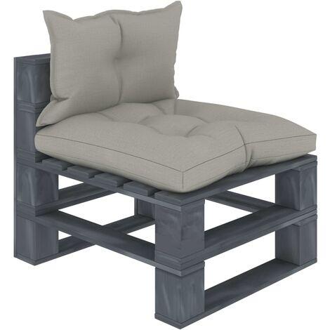Canapé de milieu palette de jardin avec coussins taupe Bois