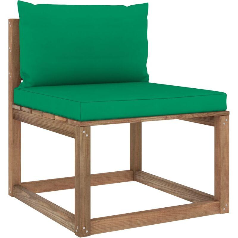 Canapé de milieu palette de jardin avec coussins vert