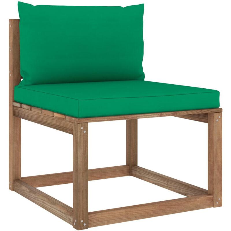 Canape de milieu palette de jardin avec coussins vert