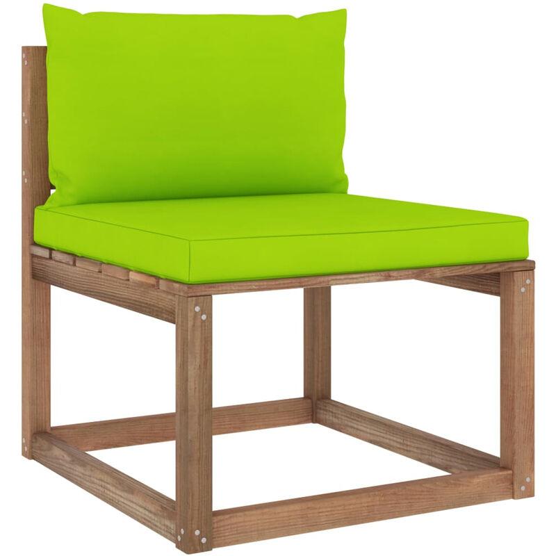 Canape de milieu palette de jardin avec coussins vert vif