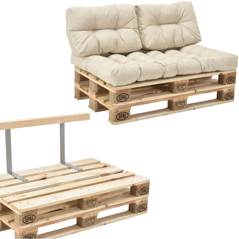 Canapé de palette euro- 2-siège avec coussins- [crème] kit complète incl. dossier