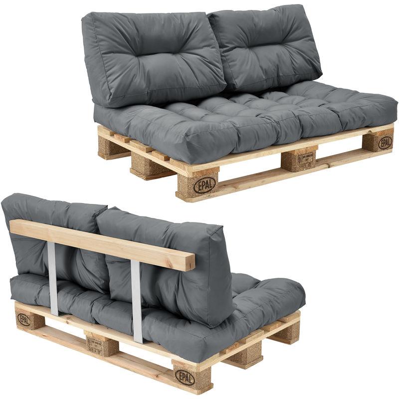 [en.casa] - Canapé de palette euro- 2-siège avec coussins- [gris brilliant] kit complète incl. Dossier - Modèle 1