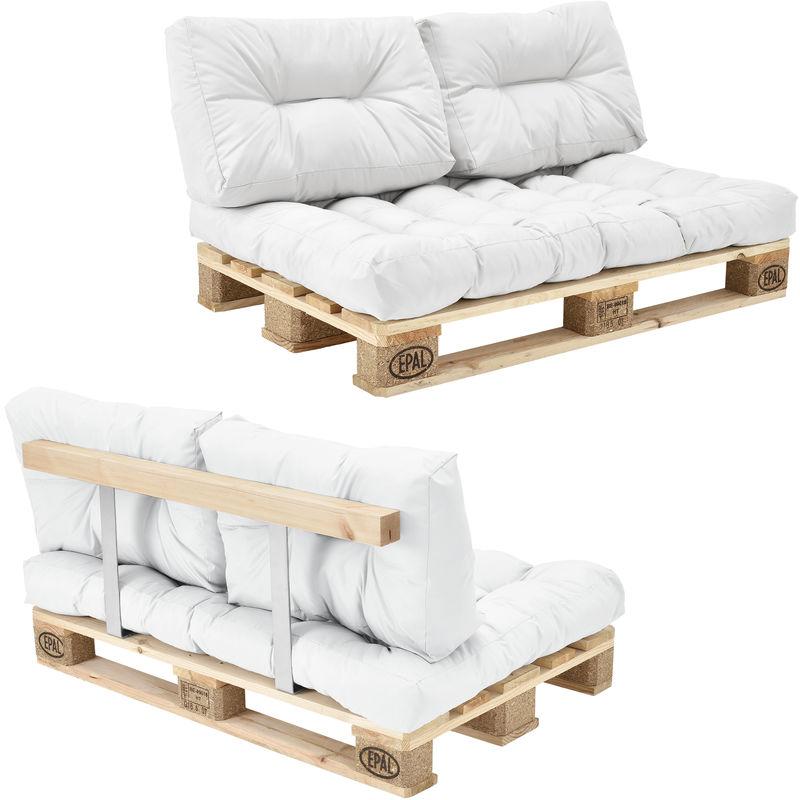 Canapé de palettes - 2-siège avec coussins - (blanc) kit complètet incl. Dossier