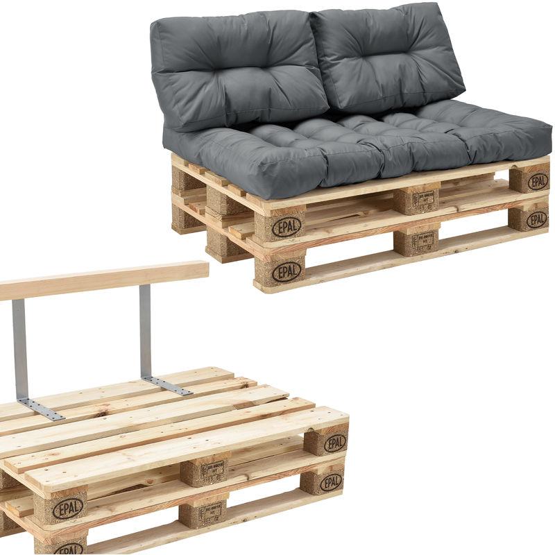 [en.casa] - Canapé de palette euro- 2-siège avec coussins- [gris brilliant] kit complète incl. dossier