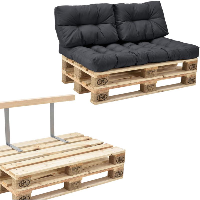 Canapé de palette euro- 2-siège avec coussins- [gris foncé] kit complète incl. dossier