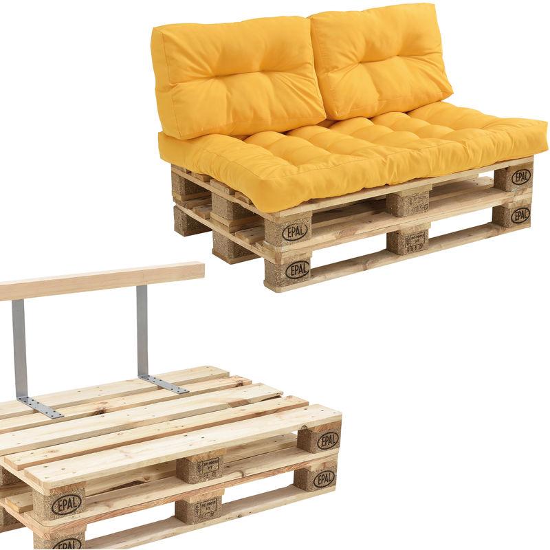 Canapé de palette euro- 2-siège avec coussins- [moutard] kit complète incl. Dossier