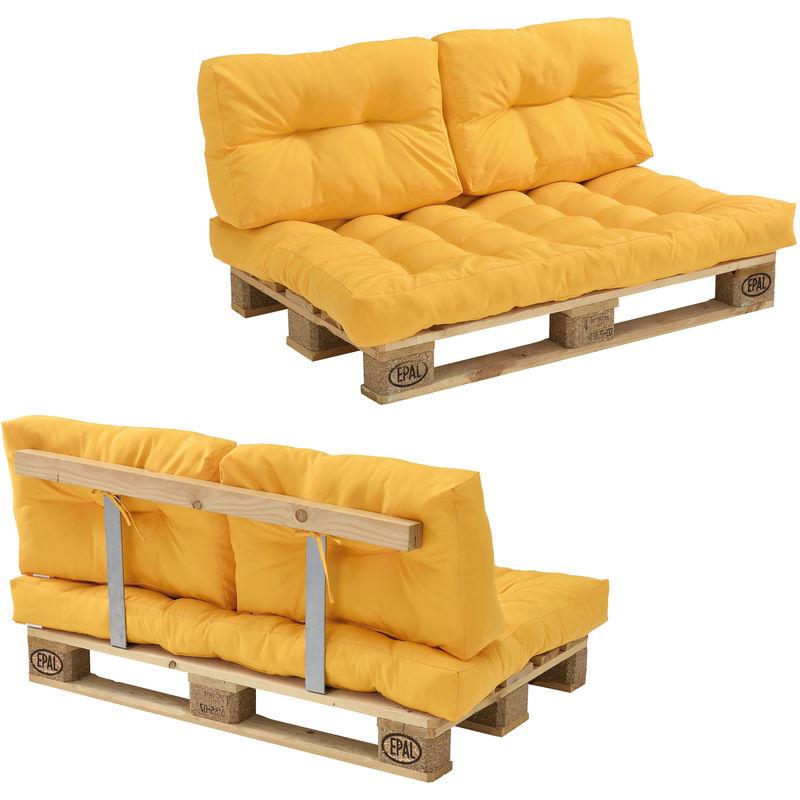 Canapé de palette euro- 2-siège avec coussins- [moutard] kit complète incl. Dossier - Modèle 1