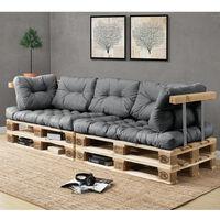 Canapé de palette euro- 3-siège avec coussins- [gris brilliant] kit complète incl. dossier et appuie-bras